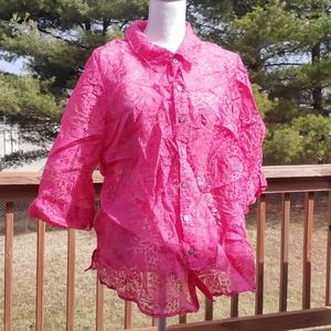 White Stag hot pink lace button up blouse